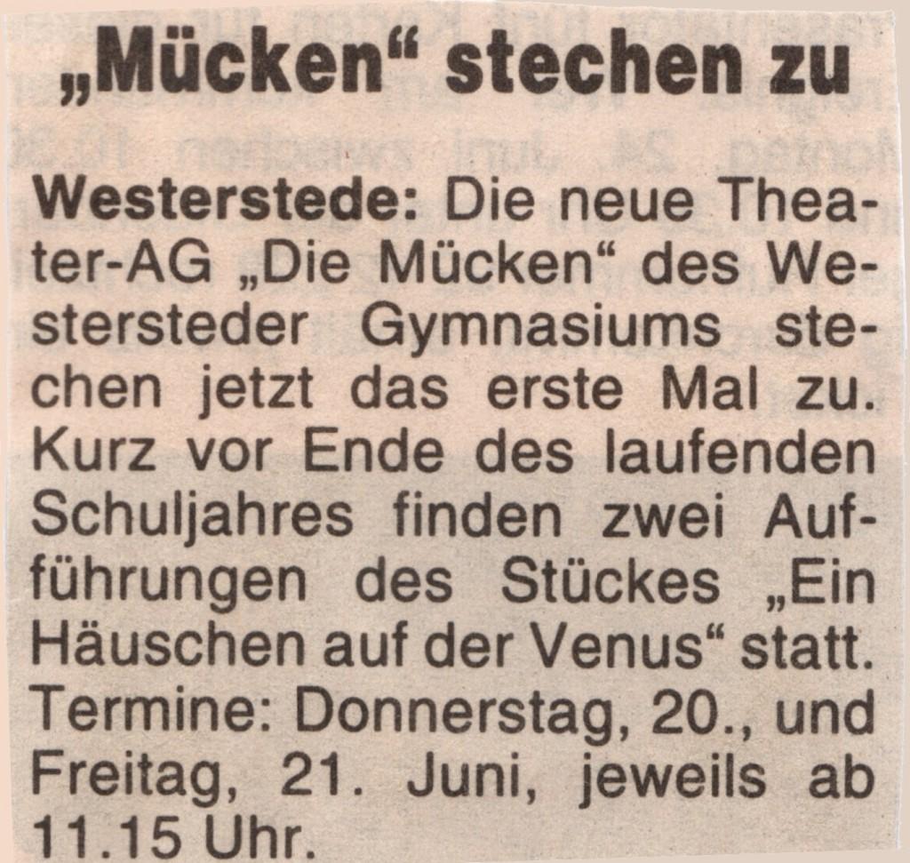 1996 19.06. Hunte Report Ankündigung