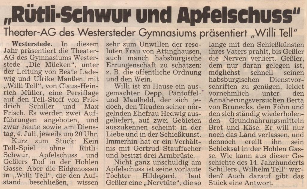2000  Sonntagszeitung Ankündigung